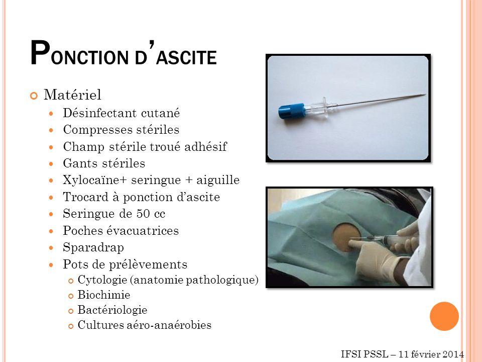 PONCTION D'ASCITE Matériel Désinfectant cutané Compresses stériles