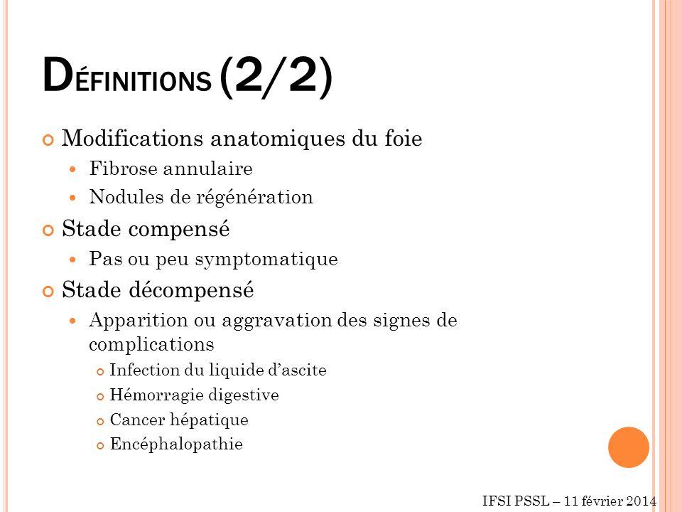 DÉFINITIONS (2/2) Modifications anatomiques du foie Stade compensé