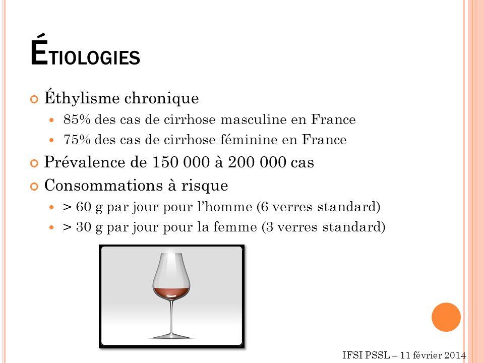 ÉTIOLOGIES Éthylisme chronique Prévalence de 150 000 à 200 000 cas