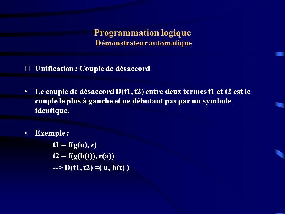 Programmation logique Démonstrateur automatique