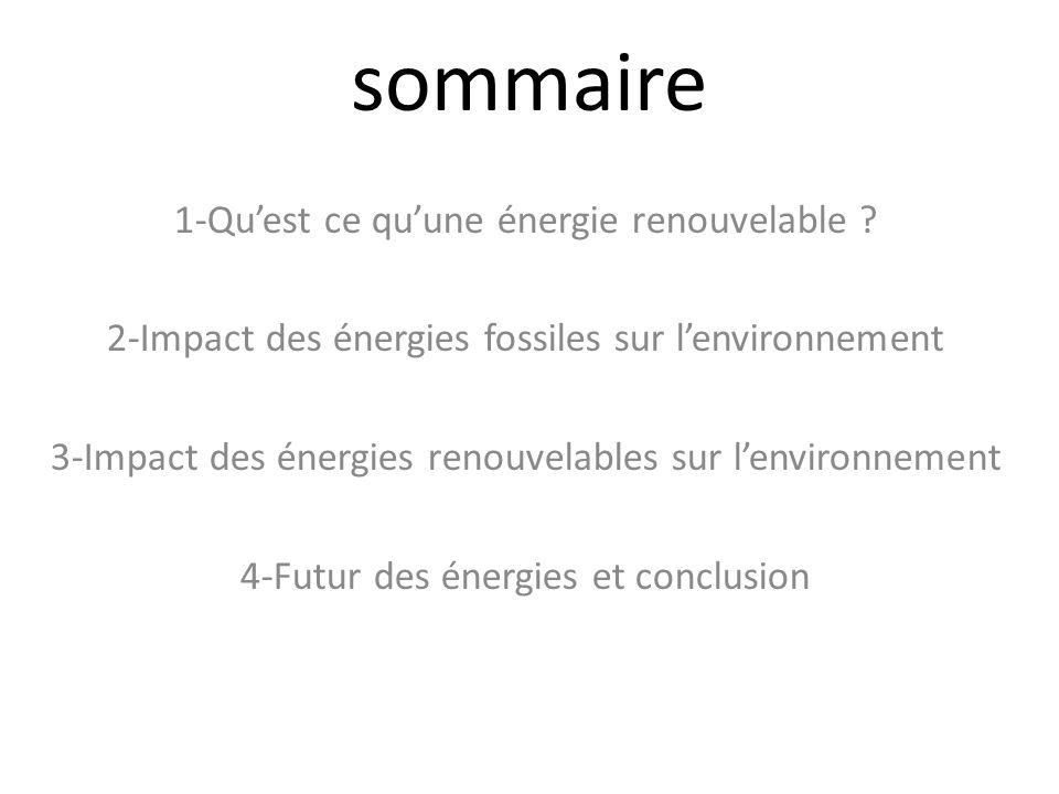 sommaire 1-Qu'est ce qu'une énergie renouvelable
