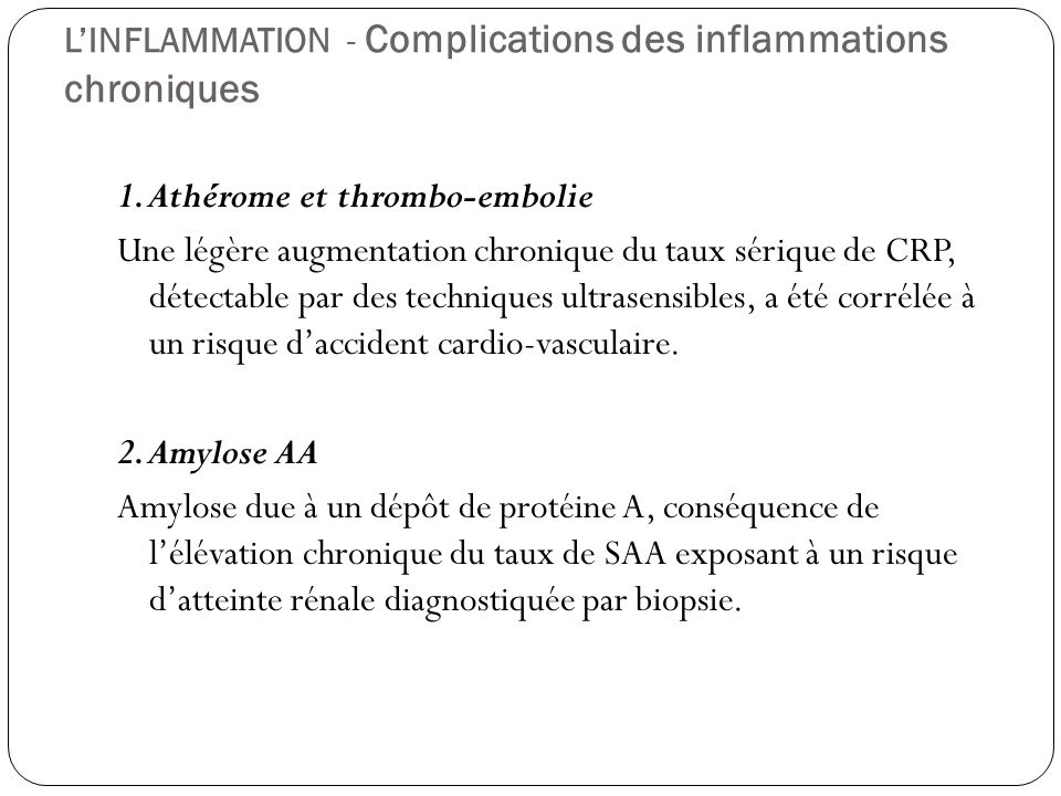 L'INFLAMMATION - Complications des inflammations chroniques