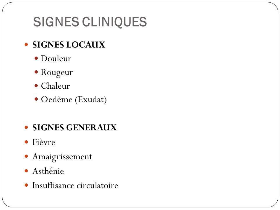 SIGNES CLINIQUES SIGNES LOCAUX Douleur Rougeur Chaleur Oedème (Exudat)