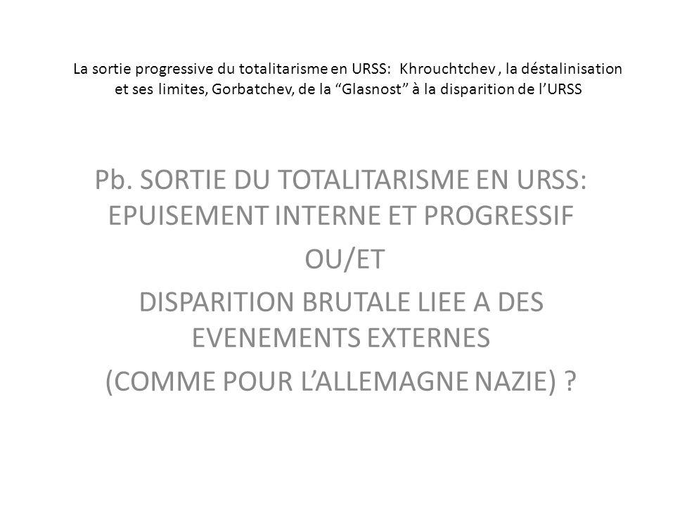 Pb. SORTIE DU TOTALITARISME EN URSS: EPUISEMENT INTERNE ET PROGRESSIF