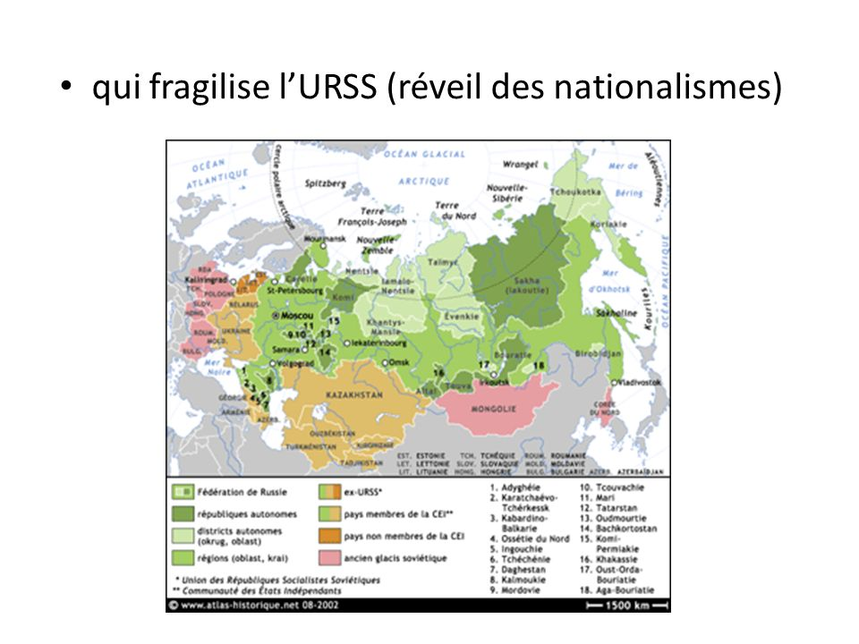 qui fragilise l'URSS (réveil des nationalismes)