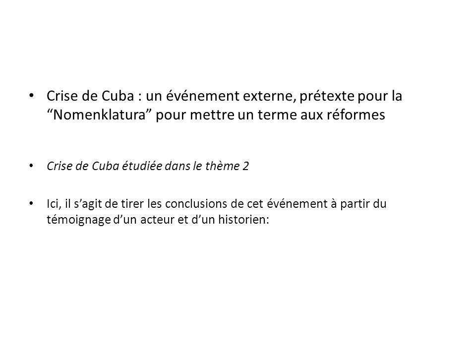 Crise de Cuba : un événement externe, prétexte pour la Nomenklatura pour mettre un terme aux réformes