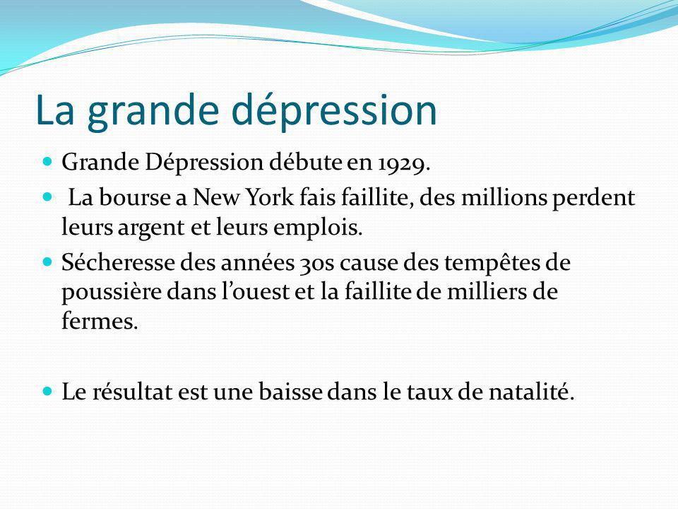 La grande dépression Grande Dépression débute en 1929.