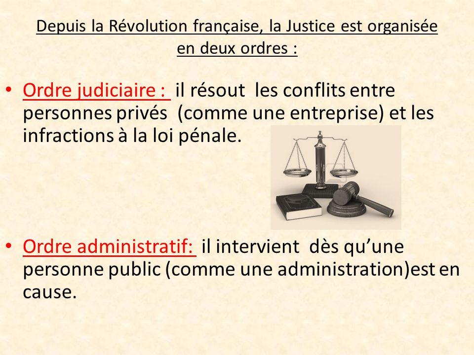 Depuis la Révolution française, la Justice est organisée en deux ordres :