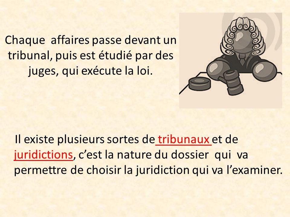Chaque affaires passe devant un tribunal, puis est étudié par des juges, qui exécute la loi.
