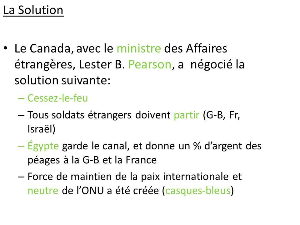 La Solution Le Canada, avec le ministre des Affaires étrangères, Lester B. Pearson, a négocié la solution suivante: