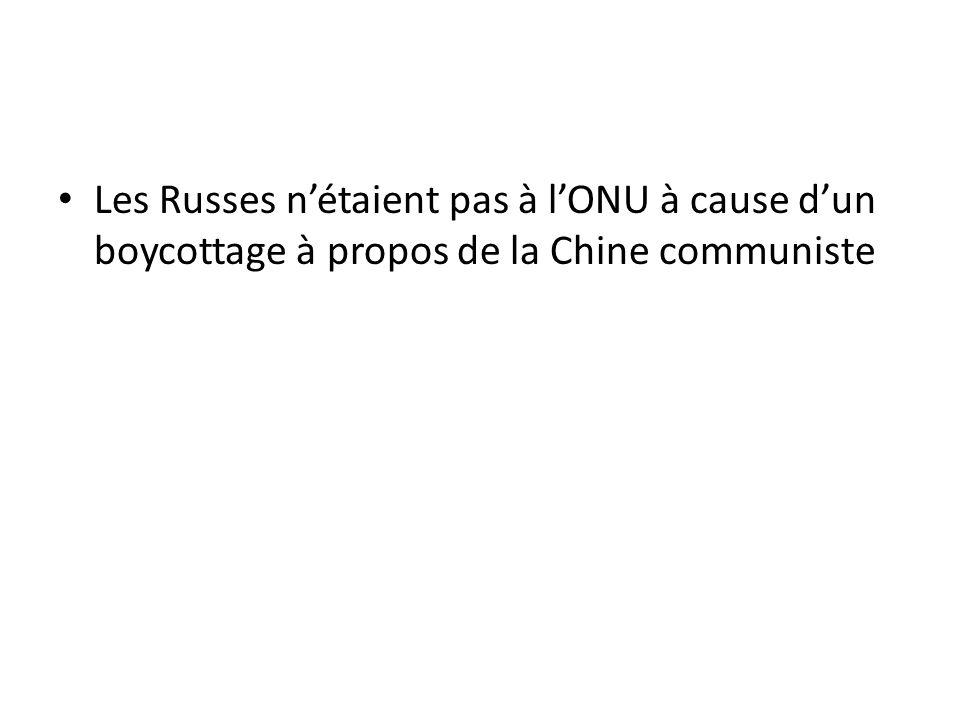Les Russes n'étaient pas à l'ONU à cause d'un boycottage à propos de la Chine communiste