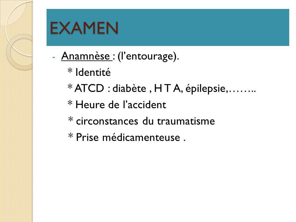 EXAMEN Anamnèse : (l'entourage). * Identité