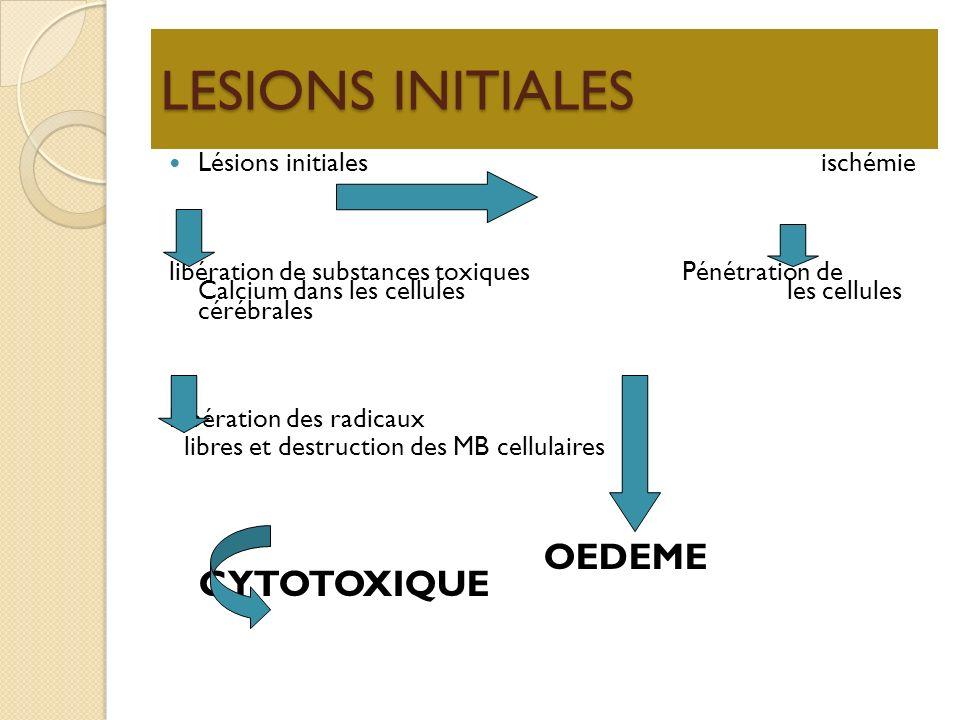 LESIONS INITIALES Lésions initiales ischémie