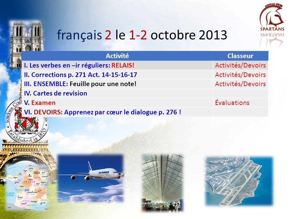 français 2 le 1-2 octobre 2013 Activité Classeur