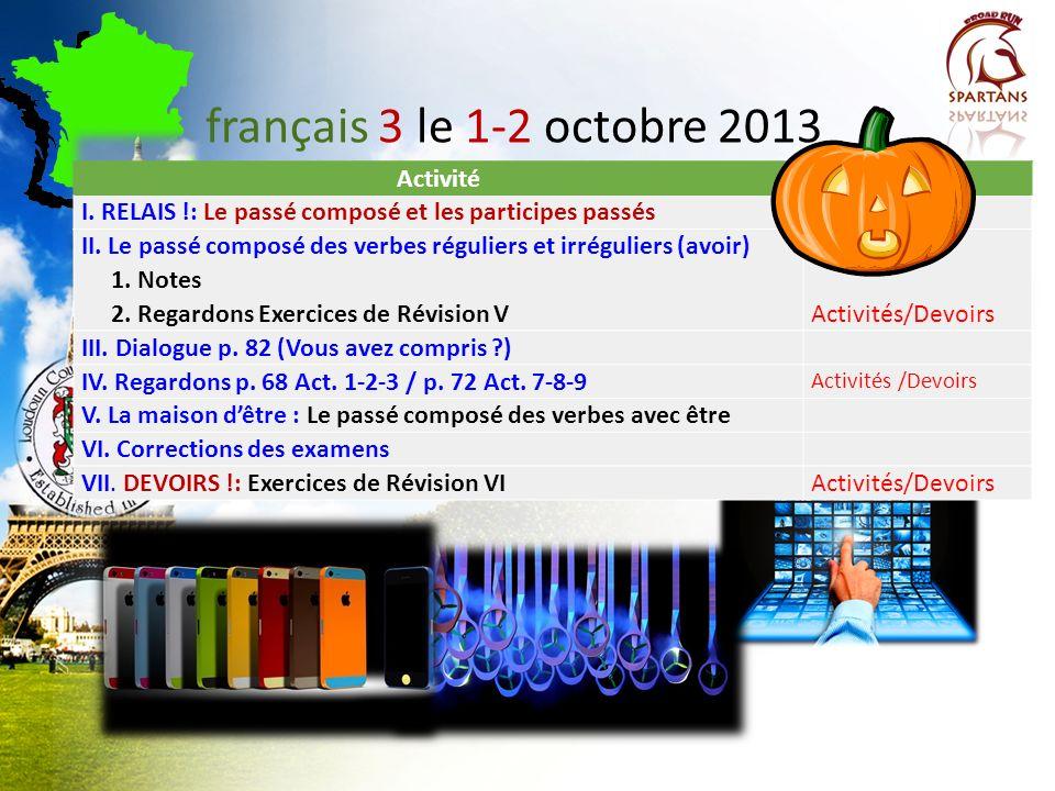 français 3 le 1-2 octobre 2013 Activité Classeur