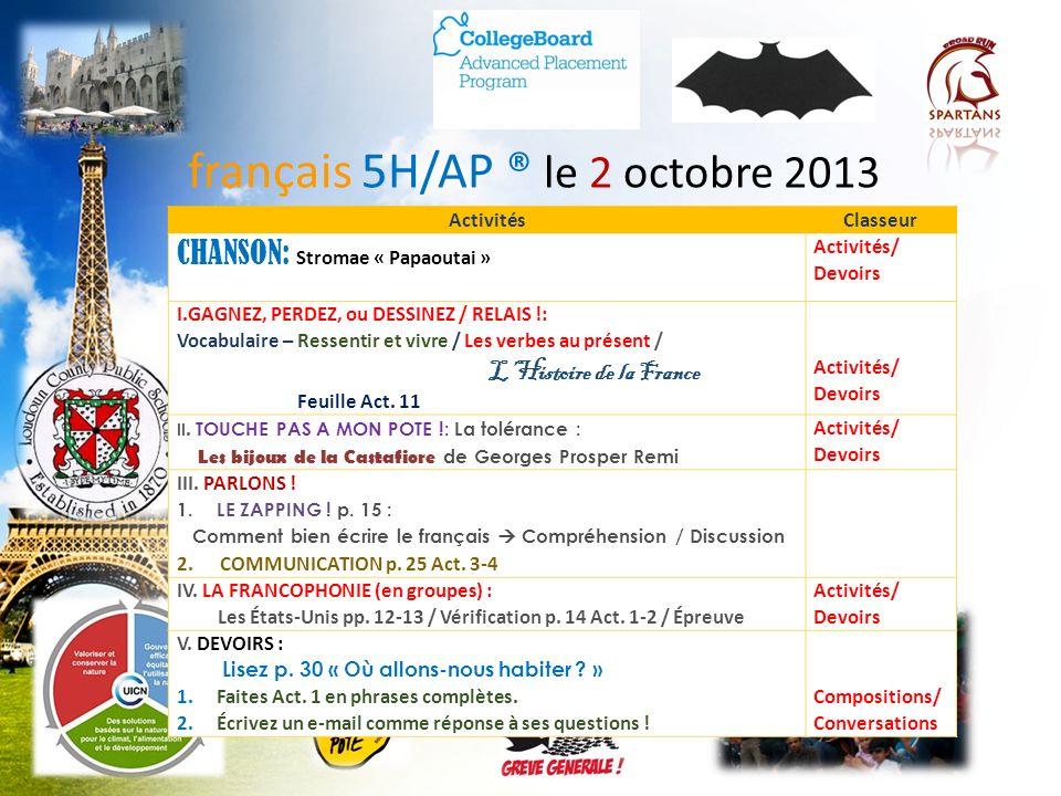 français 5H/AP ® le 2 octobre 2013