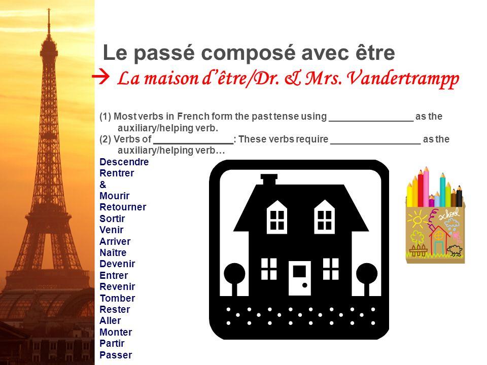 Le passé composé avec être  La maison d'être/Dr. & Mrs. Vandertrampp