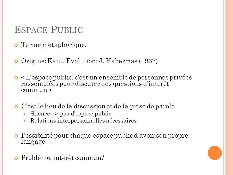 Espace Public Terme métaphorique.