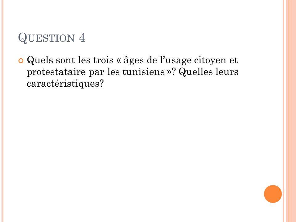 Question 4 Quels sont les trois « âges de l'usage citoyen et protestataire par les tunisiens ».