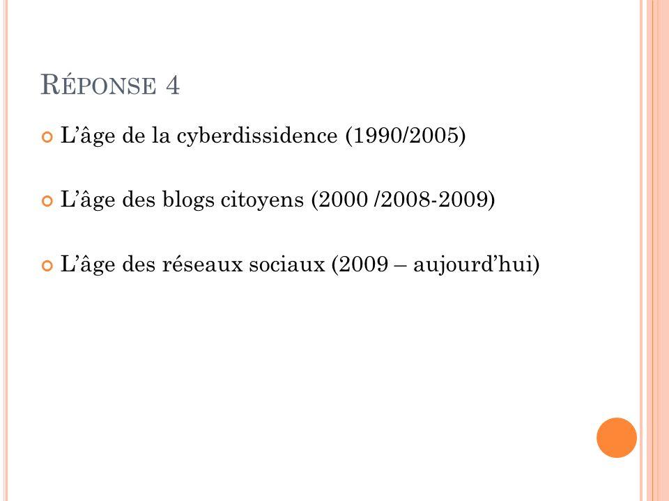 Réponse 4 L'âge de la cyberdissidence (1990/2005)