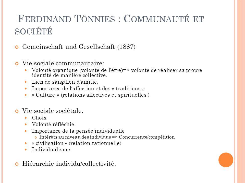 Ferdinand Tönnies : Communauté et société