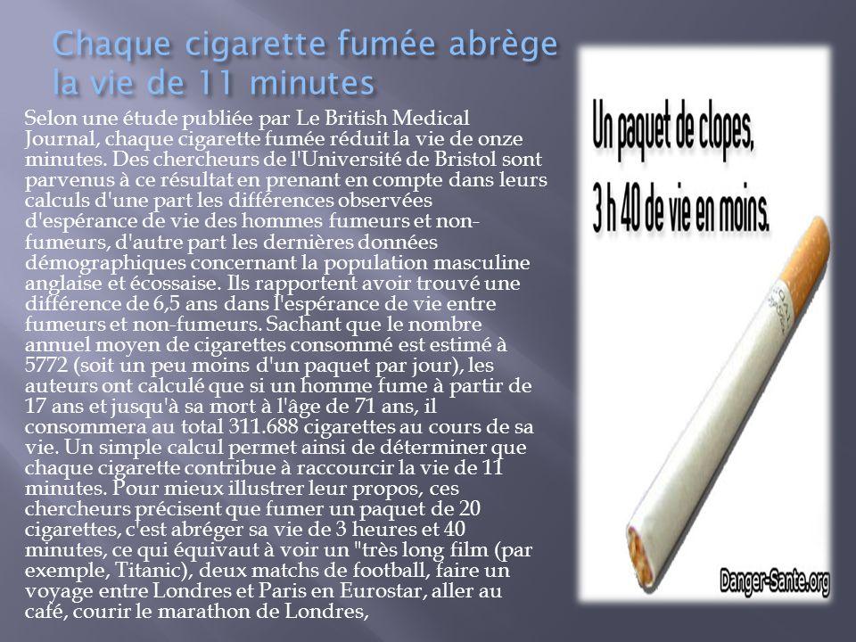 Chaque cigarette fumée abrège la vie de 11 minutes