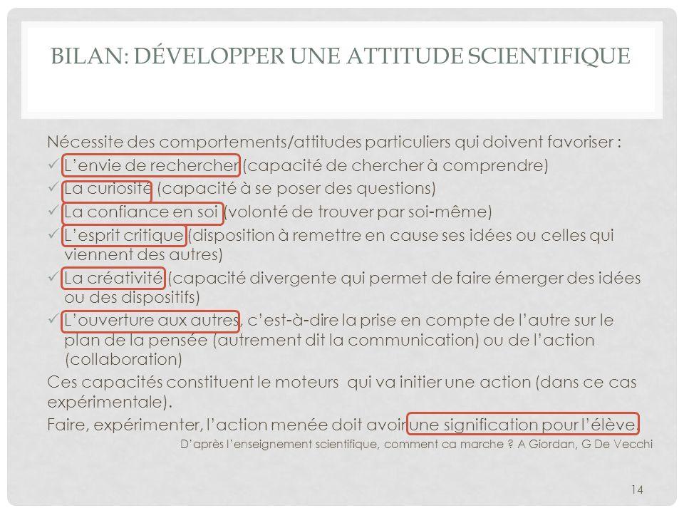 Bilan: Développer une attitude scientifique