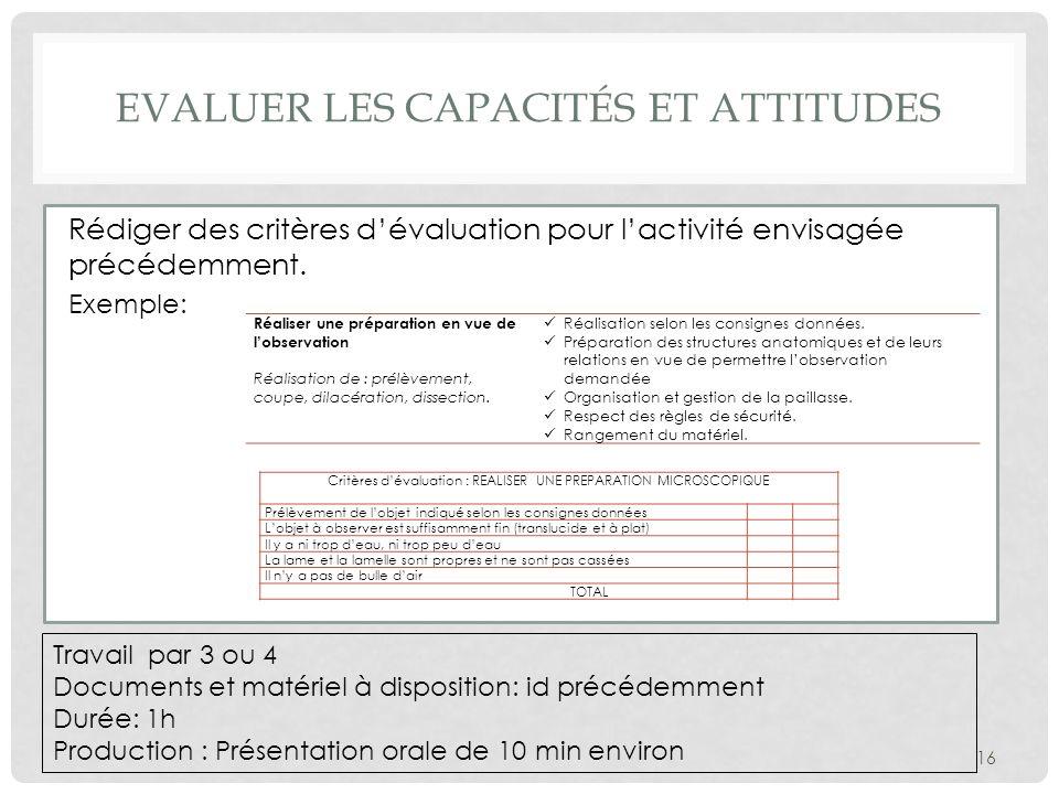 Evaluer les capacités et attitudes