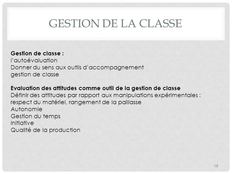 gestion de la classe Gestion de classe : l'autoévaluation