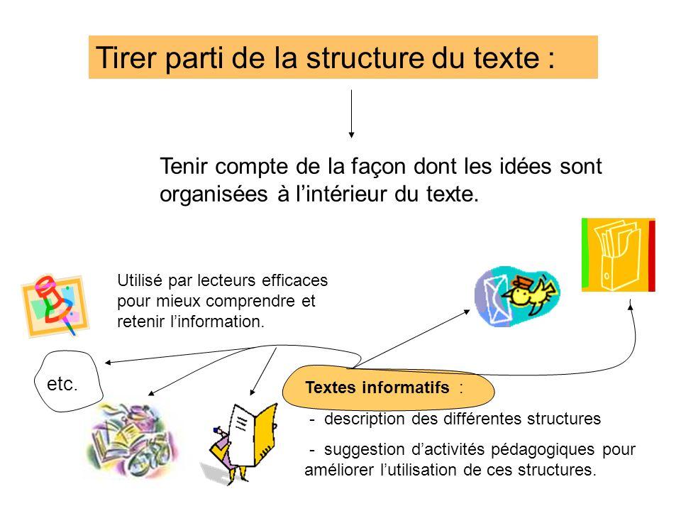 Tirer parti de la structure du texte :