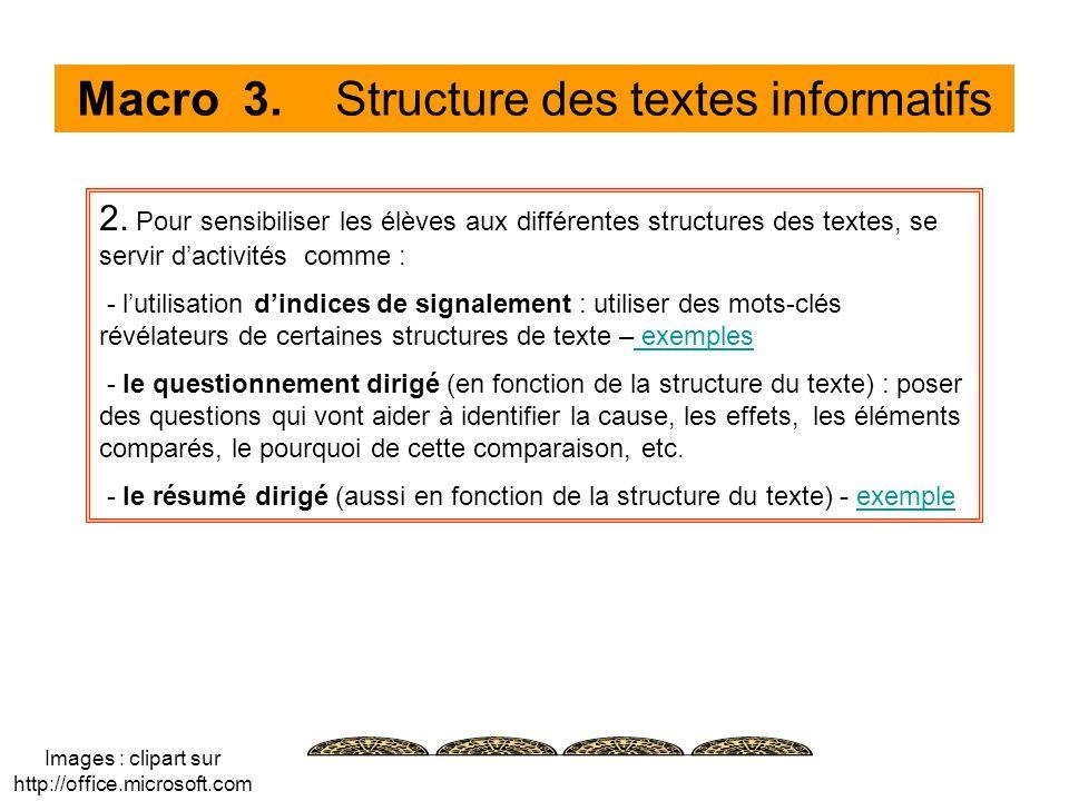 Macro 3. Structure des textes informatifs