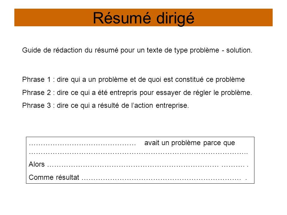 Résumé dirigé Guide de rédaction du résumé pour un texte de type problème - solution.