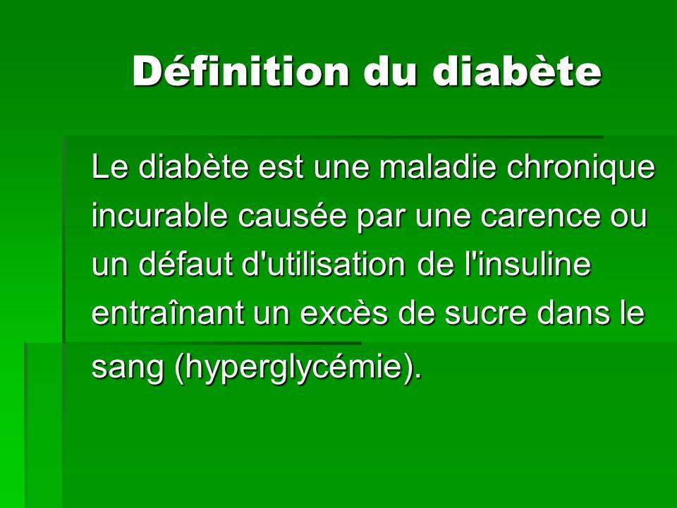 Définition du diabète Le diabète est une maladie chronique