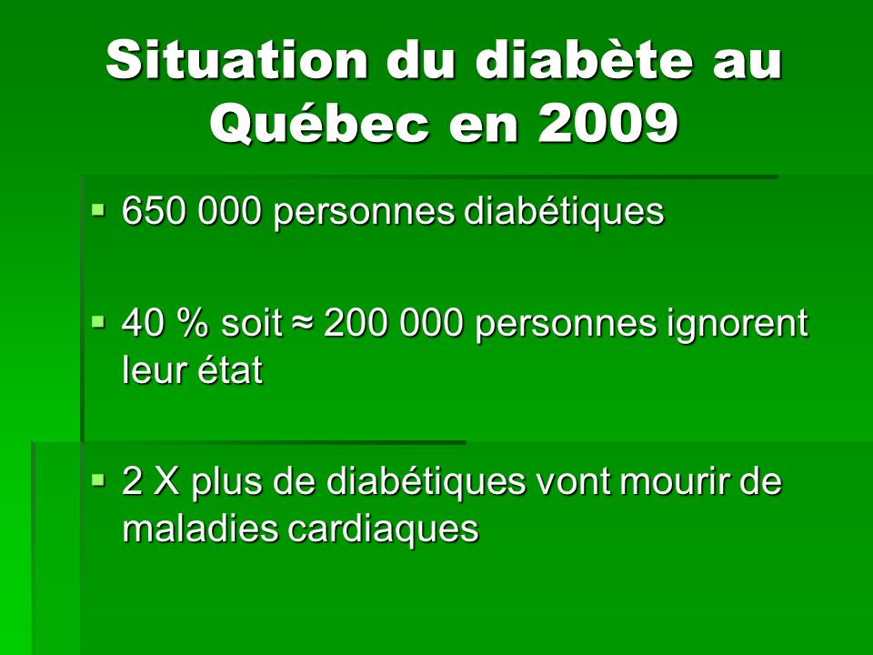 Situation du diabète au Québec en 2009