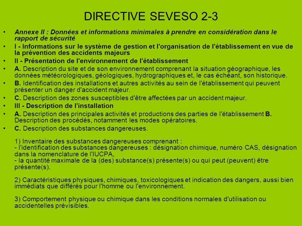 DIRECTIVE SEVESO 2-3 Annexe II : Données et informations minimales à prendre en considération dans le rapport de sécurité.