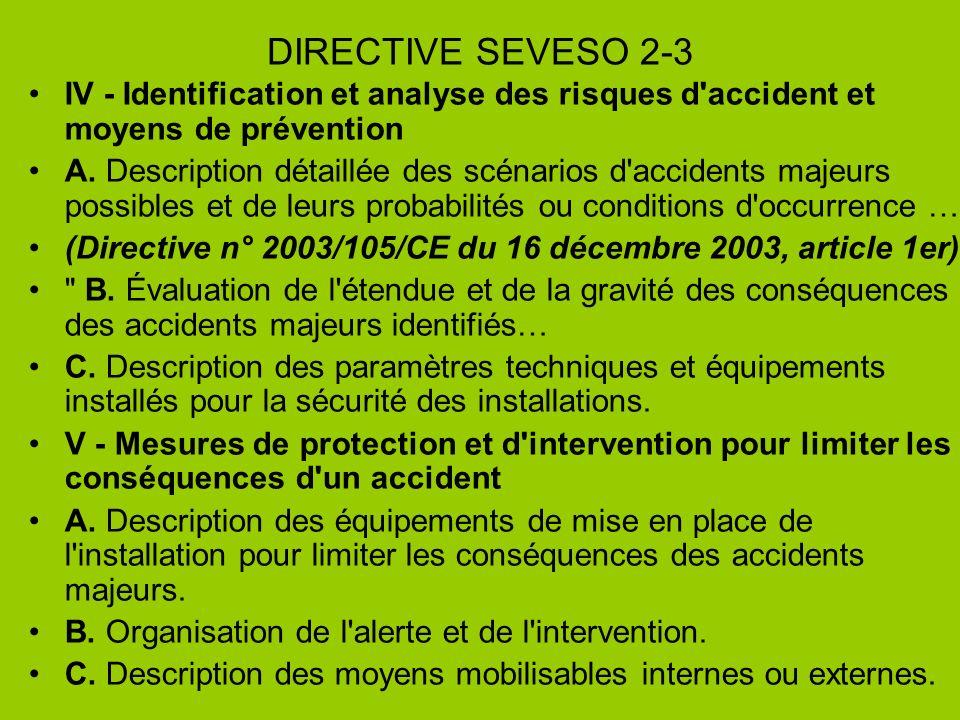 DIRECTIVE SEVESO 2-3 IV - Identification et analyse des risques d accident et moyens de prévention.