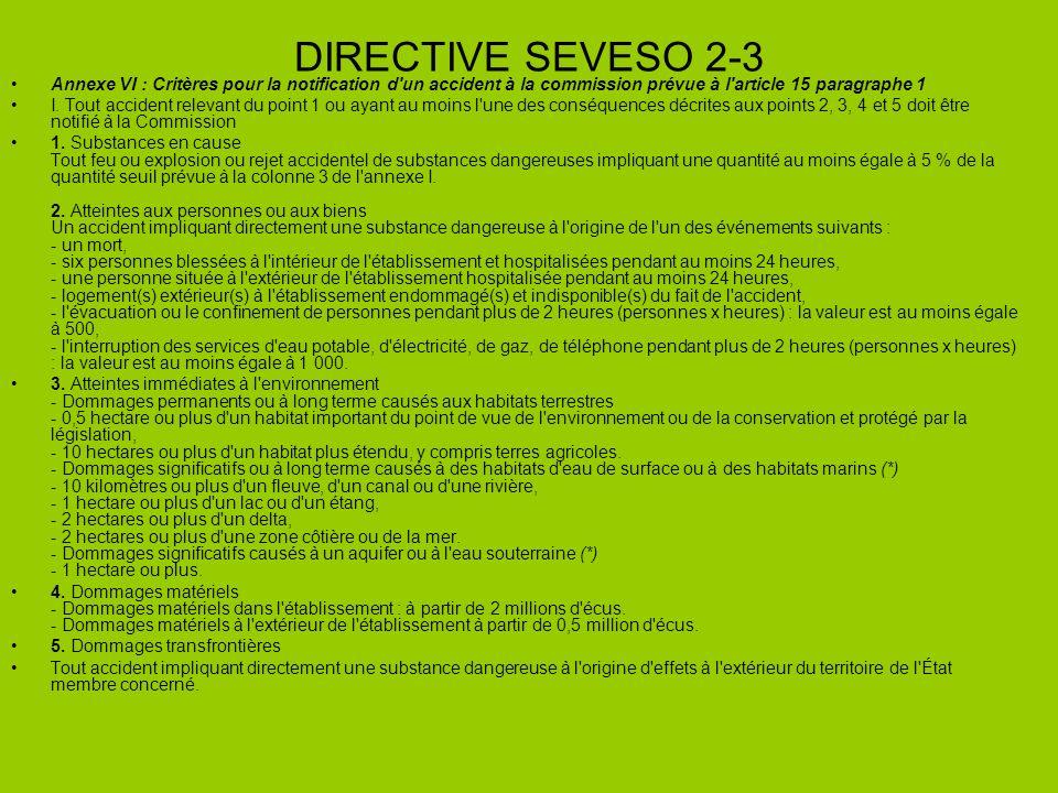 DIRECTIVE SEVESO 2-3 Annexe VI : Critères pour la notification d un accident à la commission prévue à l article 15 paragraphe 1.
