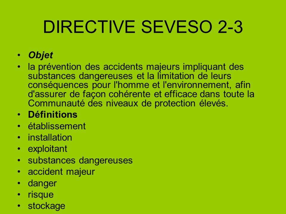 DIRECTIVE SEVESO 2-3 Objet