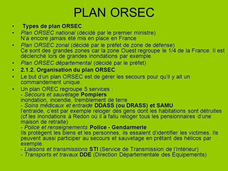 PLAN ORSEC Types de plan ORSEC