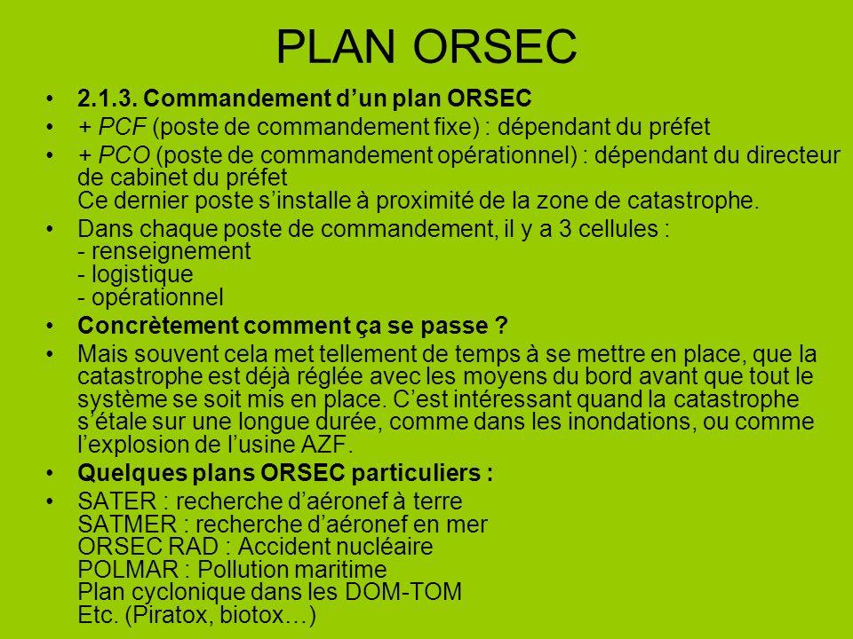 PLAN ORSEC 2.1.3. Commandement d'un plan ORSEC