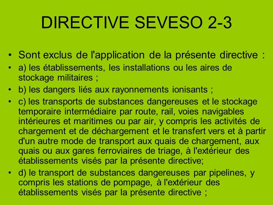 DIRECTIVE SEVESO 2-3 Sont exclus de l application de la présente directive :