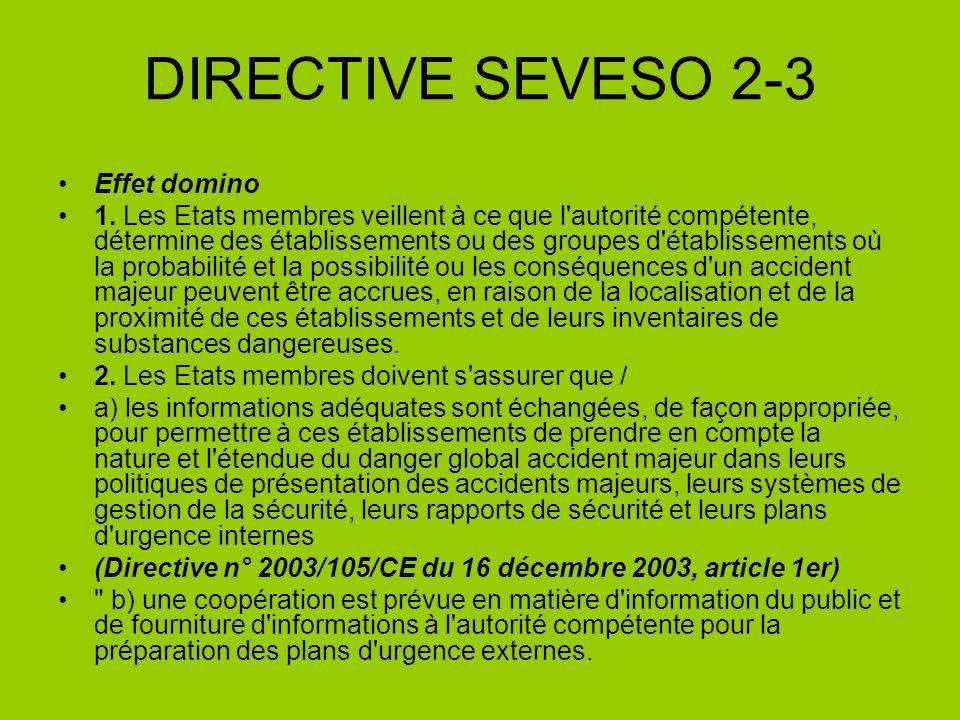 DIRECTIVE SEVESO 2-3 Effet domino