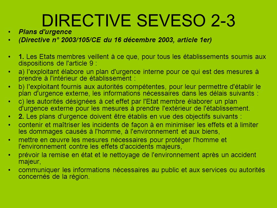 DIRECTIVE SEVESO 2-3 Plans d urgence
