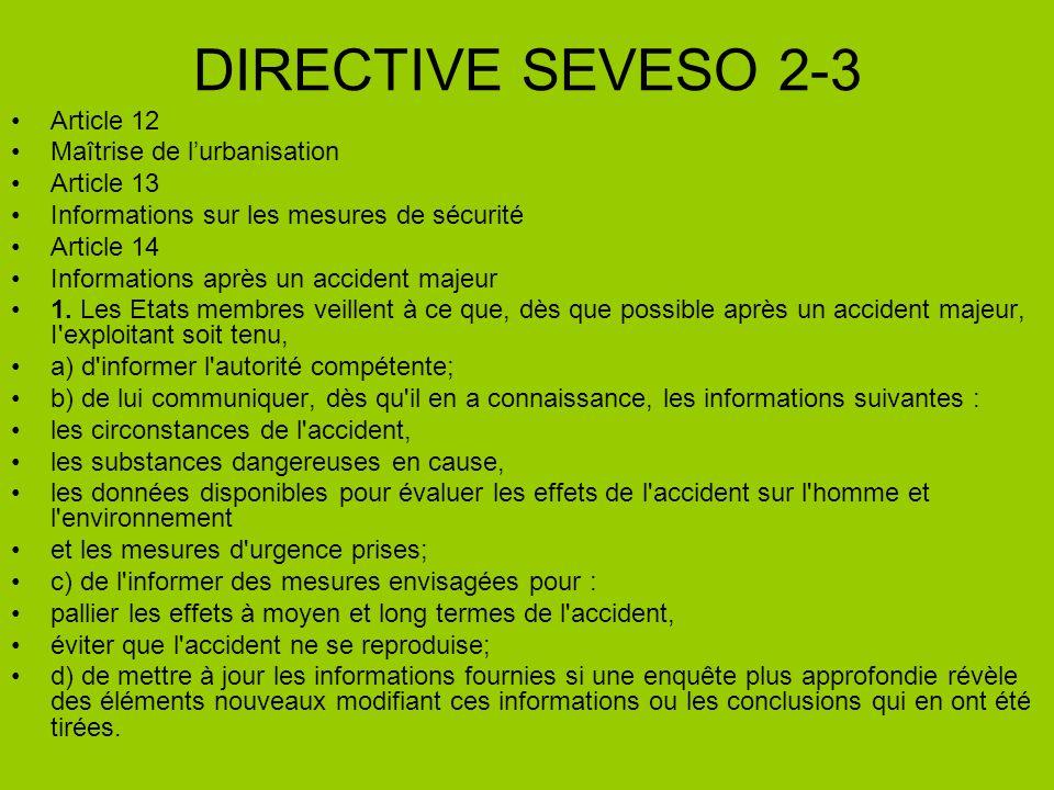 DIRECTIVE SEVESO 2-3 Article 12 Maîtrise de l'urbanisation Article 13