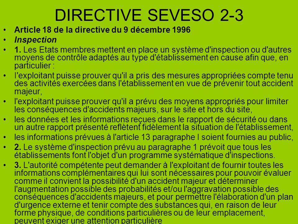 DIRECTIVE SEVESO 2-3 Article 18 de la directive du 9 décembre 1996