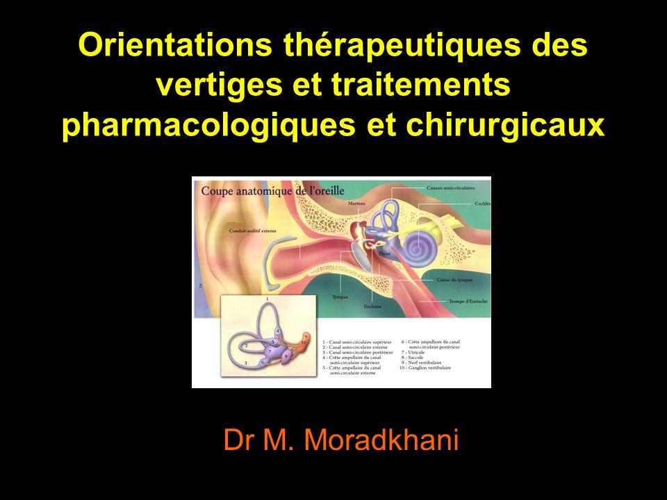 Orientations thérapeutiques des vertiges et traitements pharmacologiques et chirurgicaux