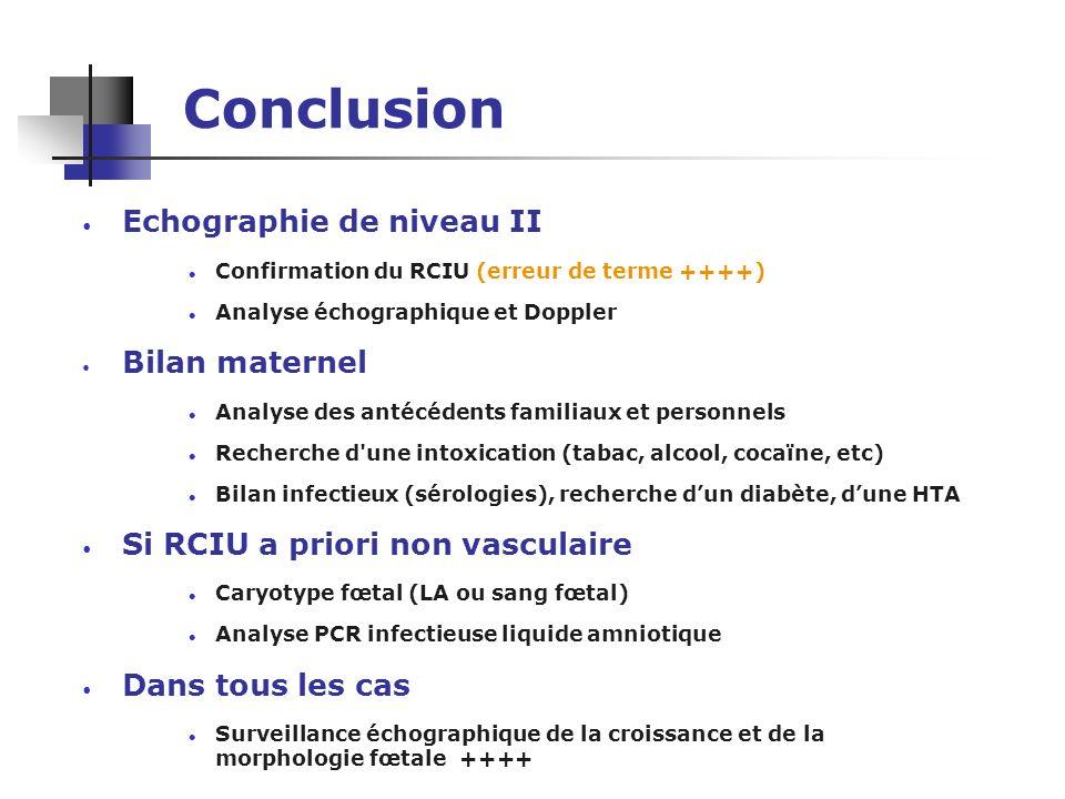 Conclusion Echographie de niveau II Bilan maternel