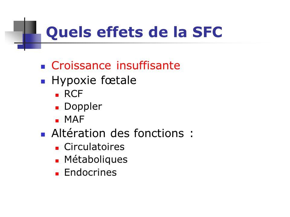 Quels effets de la SFC Croissance insuffisante Hypoxie fœtale