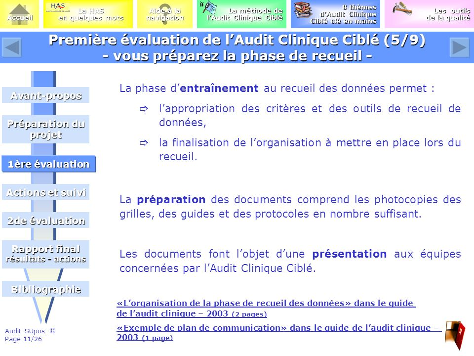 Première évaluation de l'Audit Clinique Ciblé (5/9) - vous préparez la phase de recueil -