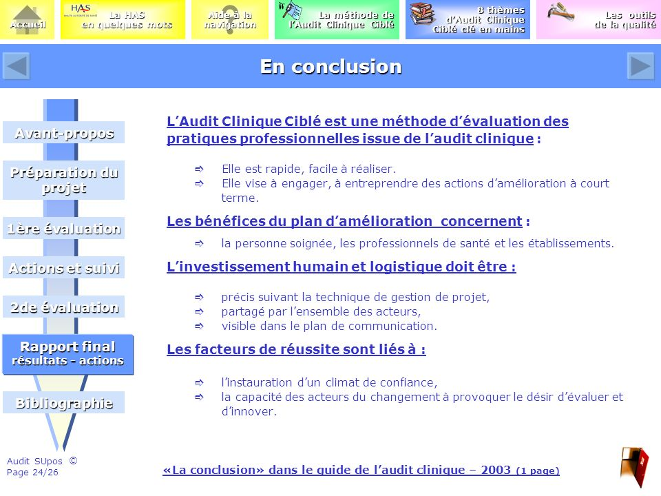 «La conclusion» dans le guide de l'audit clinique – 2003 (1 page)